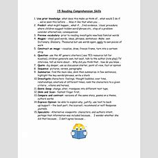 15 Reading Comprehension Skills By Kcoates  Teaching Resources Tes