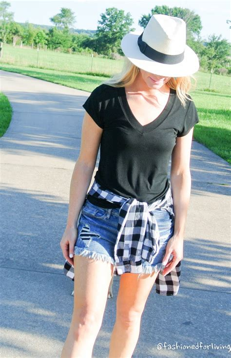 Fashioned For Living Denim Shorts And Flannel Shirt