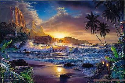 Magnifique Paysage Plage Une Fantasy Tropical Nature