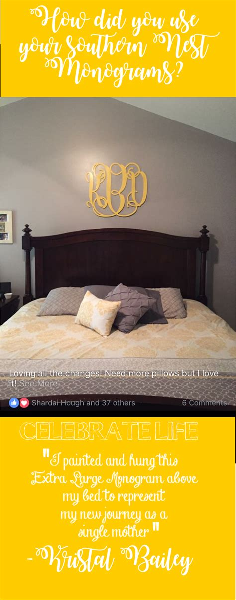 painted  hung  xl monogram   bed  represent   journey   single mother