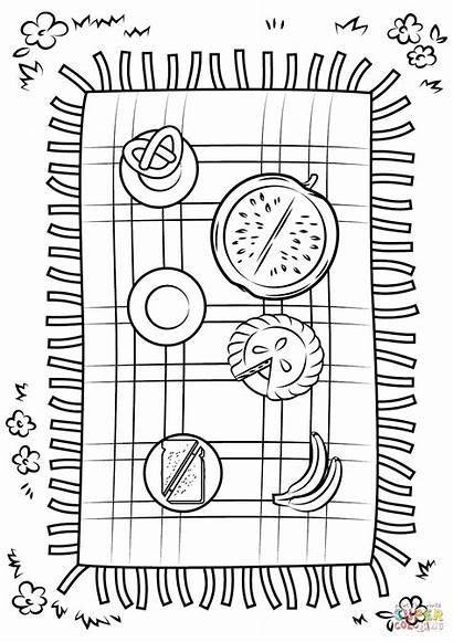 Picnic Blanket Coloring Pages Printable Drawing Dot