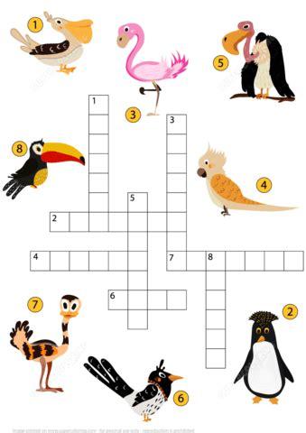 study birds crossword puzzle  printable puzzle games