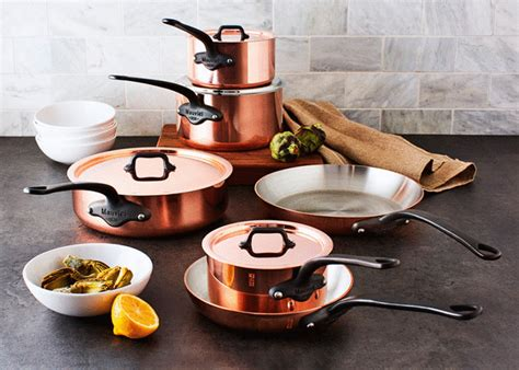 mauviel mc  piece copper cookware set kitchenkapers
