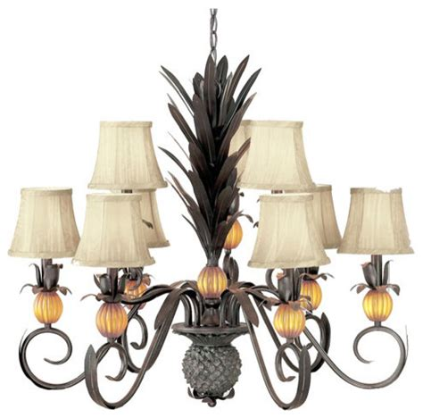 Hawaiian Chandelier by Pineapple Florentine Bronze Nine Light Chandelier