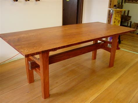 handmade redwood table  japanese joinery  heritage