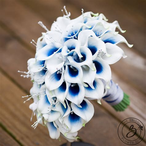 blue calla lily cascading bouquet  silver pearls