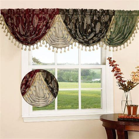 legacy damask 36 quot x 48 quot water fall valance color beige by