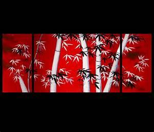 Bamboo Painting Canvas Art Japanese Bamboo Art Modern Wall