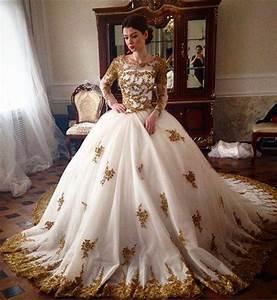 luxury wedding dress 2017 scoop long sleeve gold lace With luxury wedding dresses