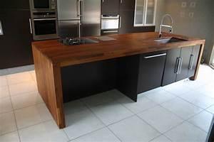 Plan De Travail En Bois : cuisine noir plan de travail bois ~ Dailycaller-alerts.com Idées de Décoration