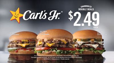 """Restaurants llc is an american fast food restaurant chain operated by cke restaurant holdings, inc., with franchisees in new zealand, australia, the united states, canada, asia. Carl's Jr. Offers """"Charbroiled Double Deals"""" for $2.49   Brand Eating"""