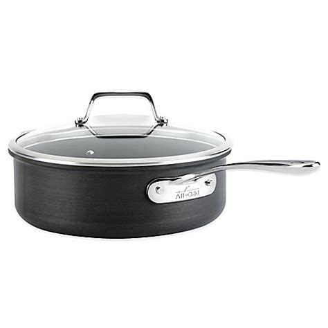 clad  hard anodized nonstick  qt saute pan  lid bed bath