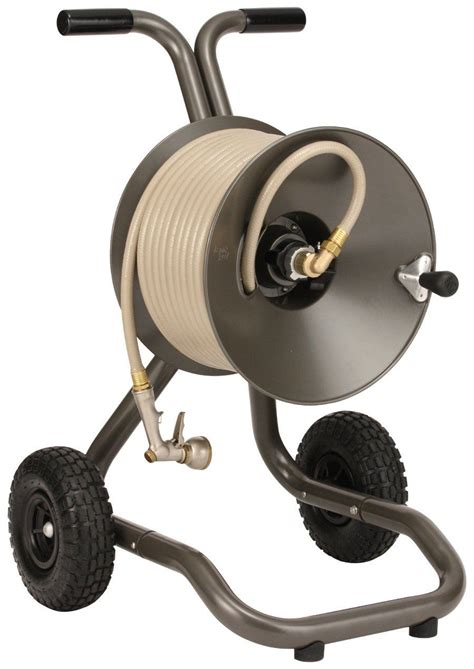 garden hose reels the eley rapid reel two wheel garden hose reel cart model
