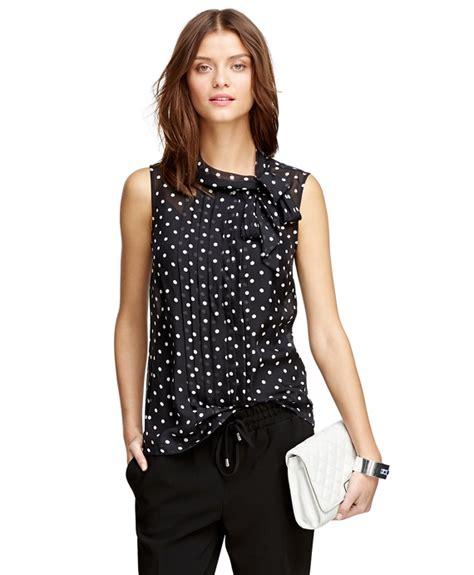 polka dot blouses 39 s silk chiffon sleeveless polka dot blouse
