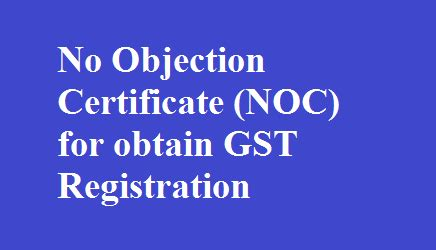 objection certificate noc  obtain gst registration