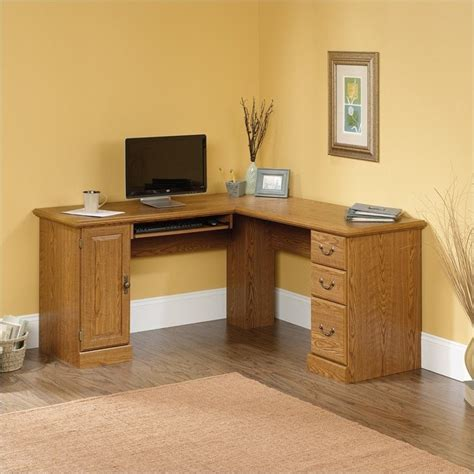 large corner computer desk orchard hills l shaped computer desk in carolina oak