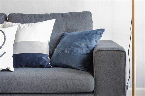 Blue Pillows On Modern Grey Sofa Stock Image Christmas Party Dress Code Nights Leeds Gift Bag Ideas Dressing Chelsea Fc Theme Evite Invitations 1960s