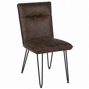 Chaise Vintage Cuir : chaise industriel aspect cuir vieilli marron ~ Teatrodelosmanantiales.com Idées de Décoration