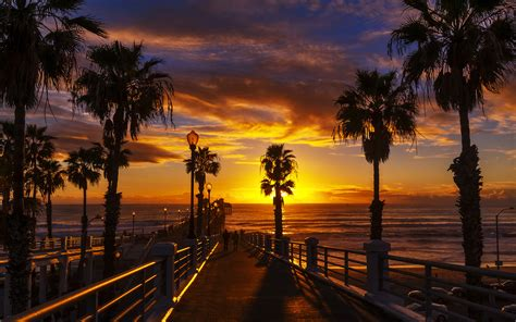 Wallpaper Desktop Hd by Sunset At The Oceanside Pier In The County Of San