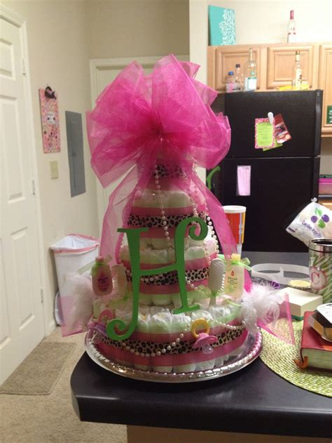 Baby Shower Cakes Girls by Pink Lime Green And Cheetah Diaper Cake For A Sweet