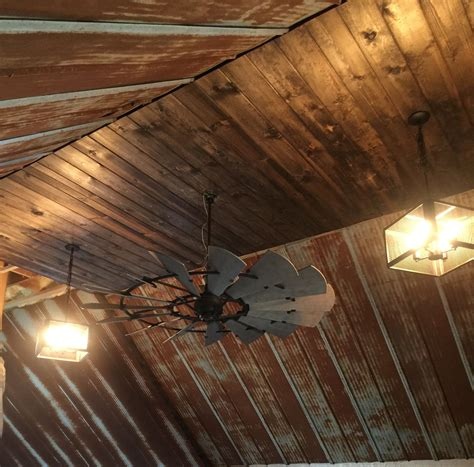 Rustic Barn Tin Ceiling With Windmill Ceiling Fan Rustic
