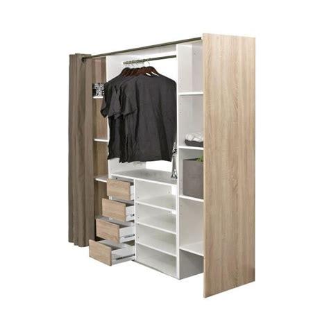 dress kit dressing extensible 112 185 cm rideau blanc et anthracite achat vente dressing