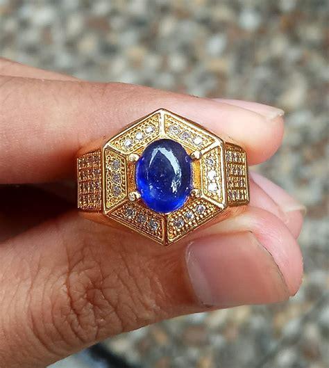 Batu Cincin Blue Safir Menawan jual blue safir asli blhe safir biru tua di