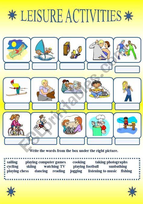 leisure activities - ESL worksheet by jovance