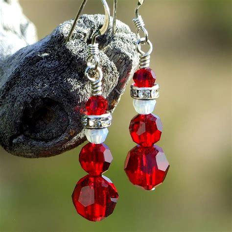 santa christmas earrings handmade swarovski crystal