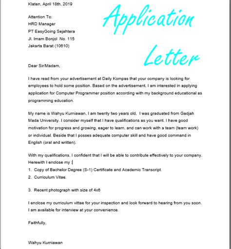 Contoh Surat Lamaran Pekerjaan Yang Ada Kop by Contoh Surat Lamaran Pekerjaan Dalam Bahasa Inggris