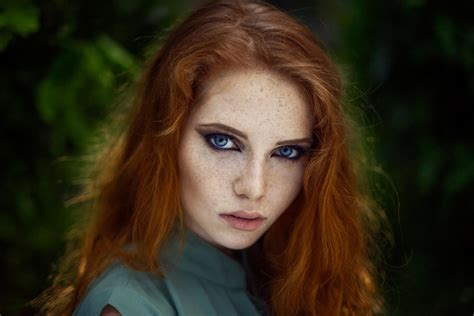 Women Freckles Blue Eyes Face Long Hair Bokeh