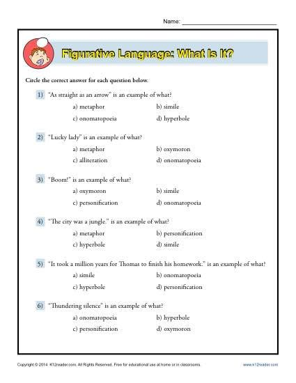 figurative language what is it worksheet