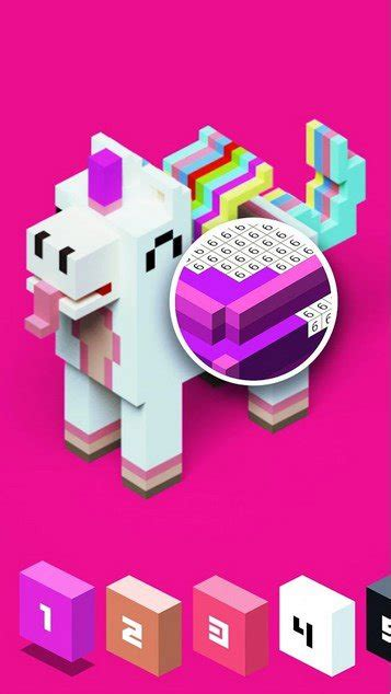 color  number  voxly unicorn pixel art