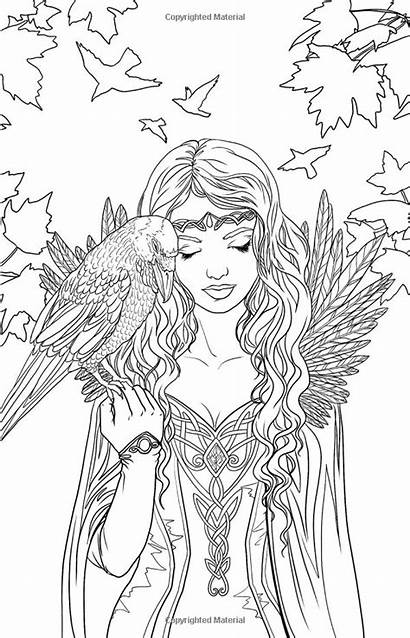 Coloring Fairy Pages Printable Elf Gothic Adult