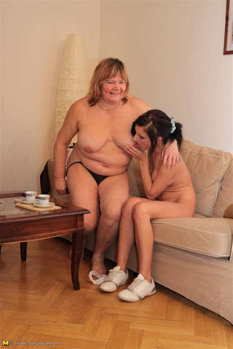 Chubby Mature Lesbian And Her Teeny Lover In Action