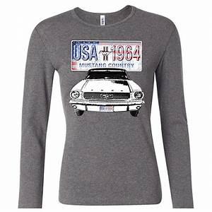 Ford Mustang Ladies Shirt USA 1964 Country Long Sleeve Tee T-Shirt - Ford Mustang T-shirts - USA ...