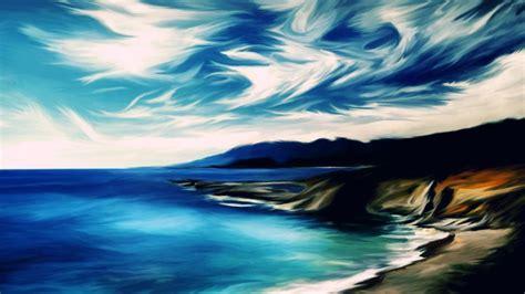 beach  afternoon oil painting art wallpaper hd
