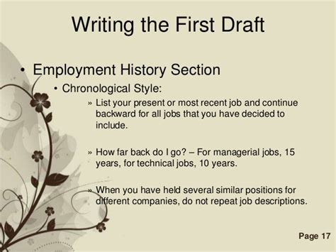 resume employment history how far back