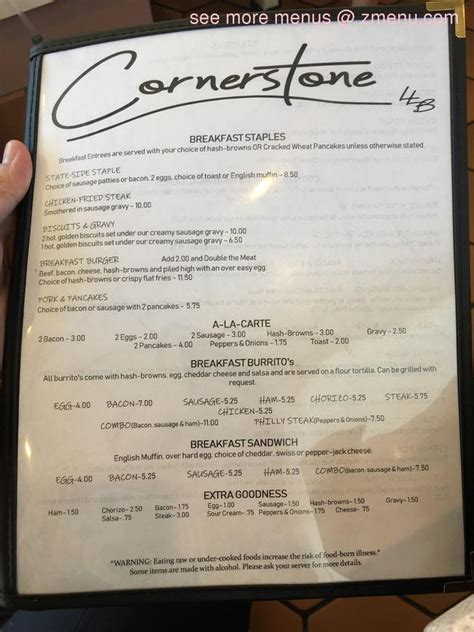 Patio and take out is open for business. Online Menu of Cornerstone LLB Restaurant, Colfax ...