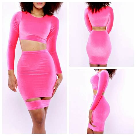 New 2015 Pink 2 Piece Bandage Sexy Bodycon Dress Celebrity