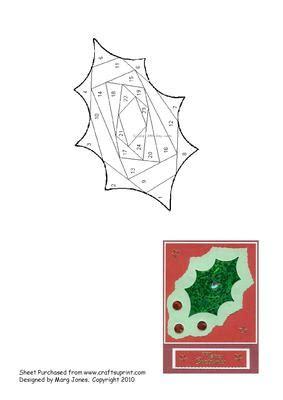 holly leaf iris folding pattern cup craftsuprint
