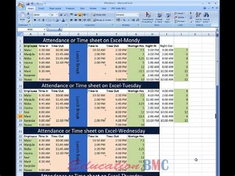 excel attendance  time sheet  employees   tamil