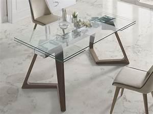 Table à manger extensible avec plateau en verre trempé Mod NAOMI