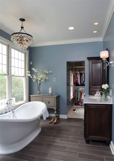 Grey Wood Floors, Blue Walls And White Trim Basement
