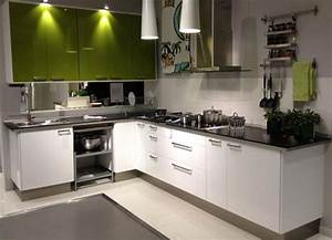 L-Shaped Kitchen Layout with Green and White. | Kitchen ...