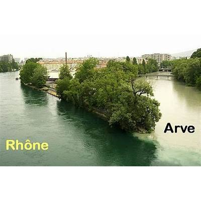 Confluence of Rhone and Arve - Geneva
