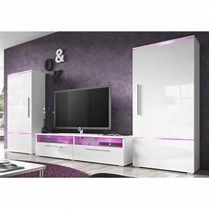 Meuble Blanc Laqué Brillant : ensemble meuble tv blanc laqu brillant design canon sans ~ Dailycaller-alerts.com Idées de Décoration