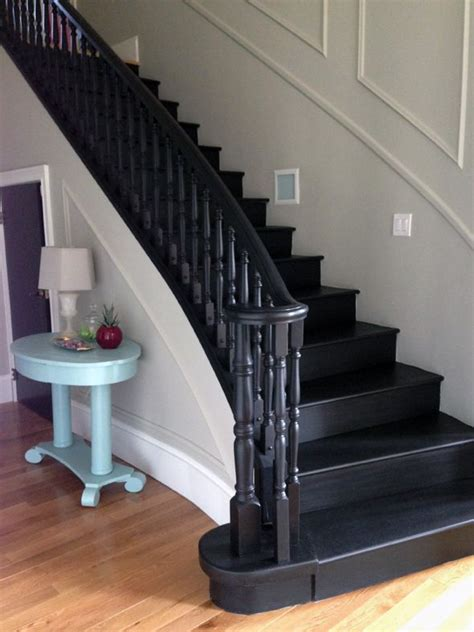 Black Staircase Banister by All Black Or Stained Home Ideas In 2019
