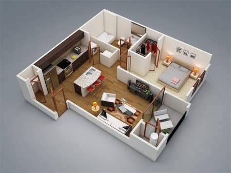appartement 1 chambre plan 3d appartement 1 chambre 02