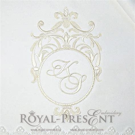 machine embroidery design classic blank monogram  royal